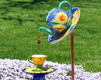 "TeaPot / Coffe Pot Cup Saucer Garden Glass Plate Flower Yard Art - ""Sunshine on My Shoulders"" Sunflower"