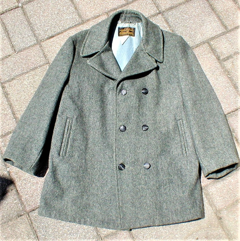 Vintage 60s 70s Eddie Bauer Wool Over Coat Fisherman Jacket Mens Size 40  M Gray Peacoat Style Winter 1960s 1970s Military Made USA Navy US