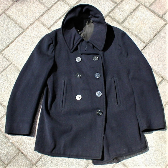 Vintage 30s 40s WW II 2 US Navy 8 Button Peacoat C