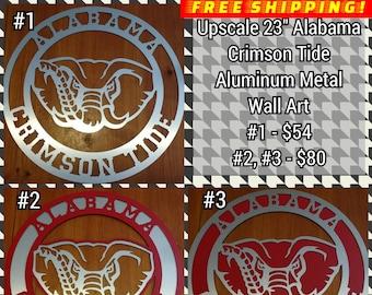 Weatherproof Alabama Auburn Metal Door Hanger Sports Sign Wreath Man Cave Game