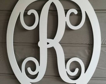 weatherproof monogram letter initial 20x16 in oval frame door or wall hanging sign acm
