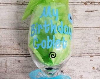 Glittered Wine Glass: My Birthday Goblet