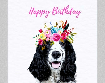 Cocker Spaniel Birthday Card - Dog Greeting Card - Gift for Cocker Spaniel Lover