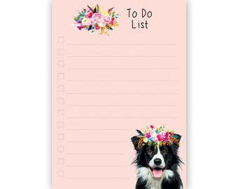 Border Collie Gift - A6 To Do Notepad - Tear off Sheepdog Notebook, Border Collie Lover Gift