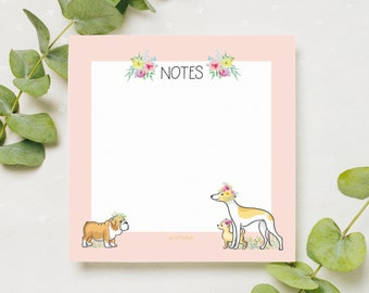 Dog Themed Square Memo Pad  - 100 Pages - Tear Off Desk Notepad - Magnetic - To Do List - Priorities - Shopping List - Notes & Doodles