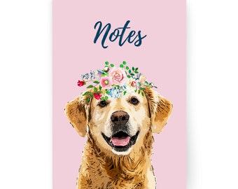 Golden Retriever Gift - A6 Notebook Pink -  Golden Retriever Lover Gift - Plain Pages - Pocket/Handbag Size