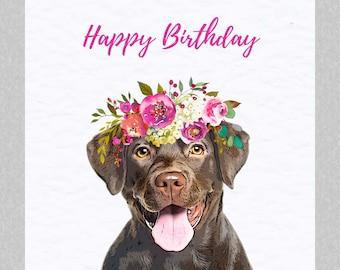 Chocolate Labrador Birthday Card - Cute Dog Greeting Card