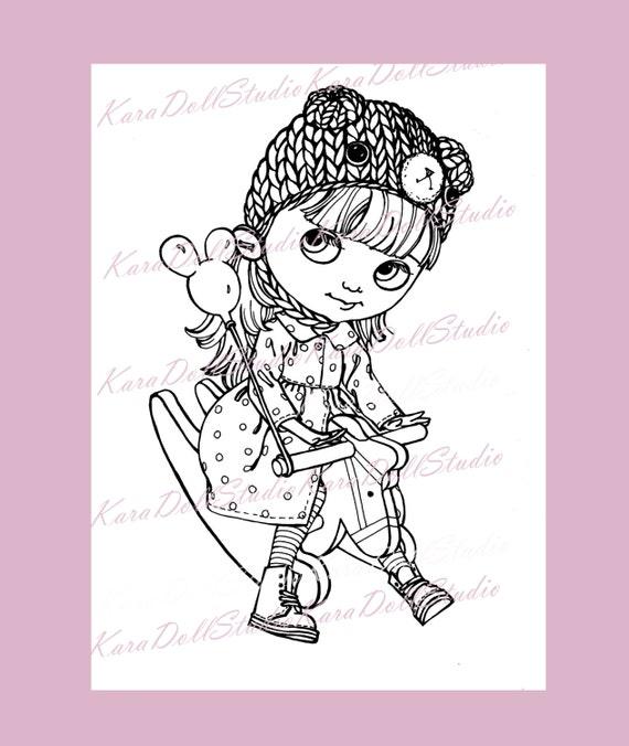 Lindo Digi sellos digitales para colorear infantil de muñeca