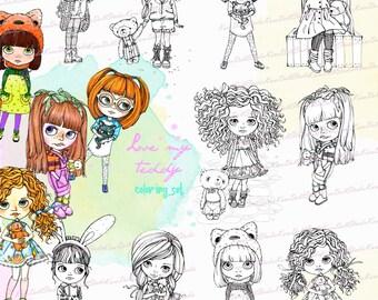 TEDDY Bären Digi Stamps Buch Malvorlagen Download Kinder Färbung Blatt Digital Kinder Briefmarken Teddy druckbare Färbung Seite K-51