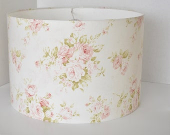 Floral lamp etsy shabby cottage chic floral drum lampshade pink floral lamp shade kids room nursery lampshade girl bedroom custom made to order aloadofball Image collections