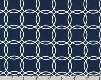 Fabric by the Yard - Metro Living Interlocking Circles Robert Kaufman Fabrics-Navy Blue