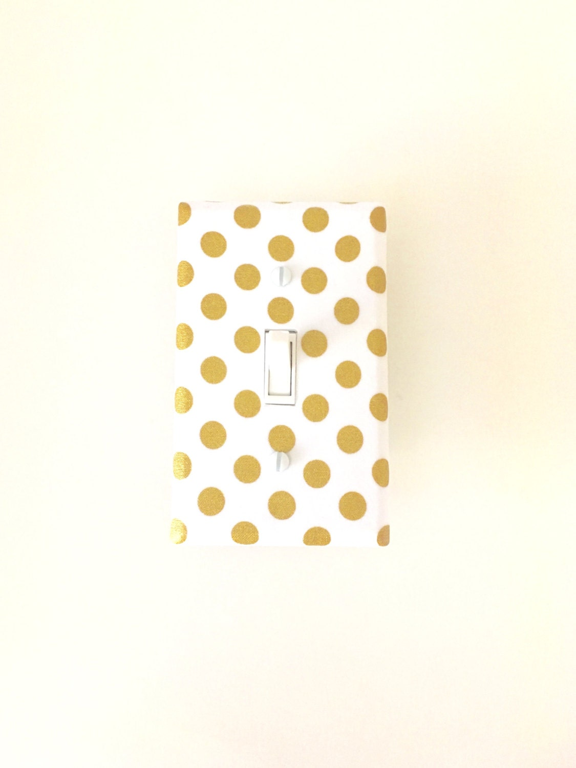 Gold Polka Dot Light Switch Plate White Gold Metallic Nursery