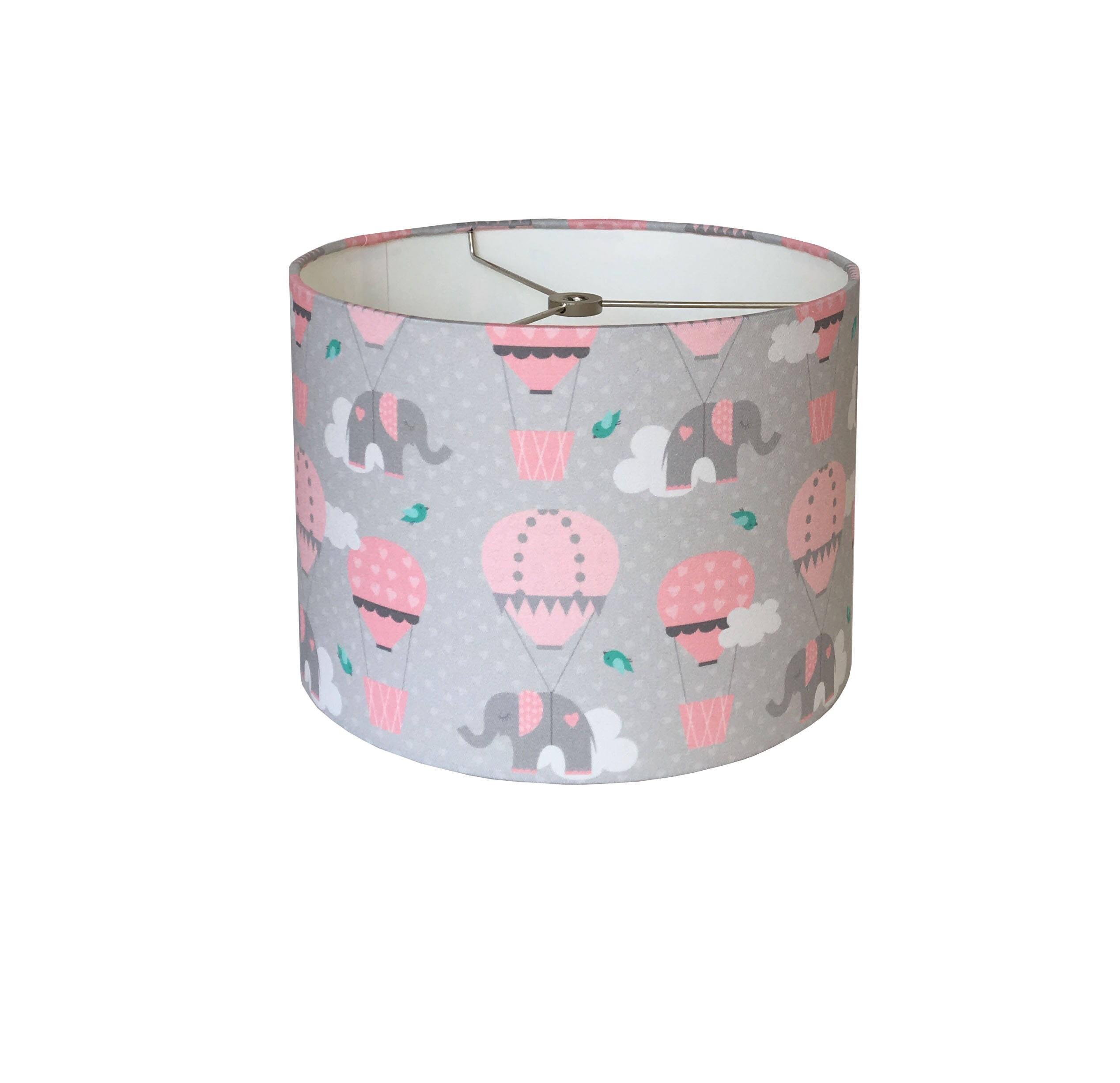 Pink grey drum lamp shade nursery lampshade baby girl room wall pink grey drum lamp shade nursery lampshade baby girl room wall decor lampshade hot air ballon elephant polka dot lampshade aloadofball Image collections