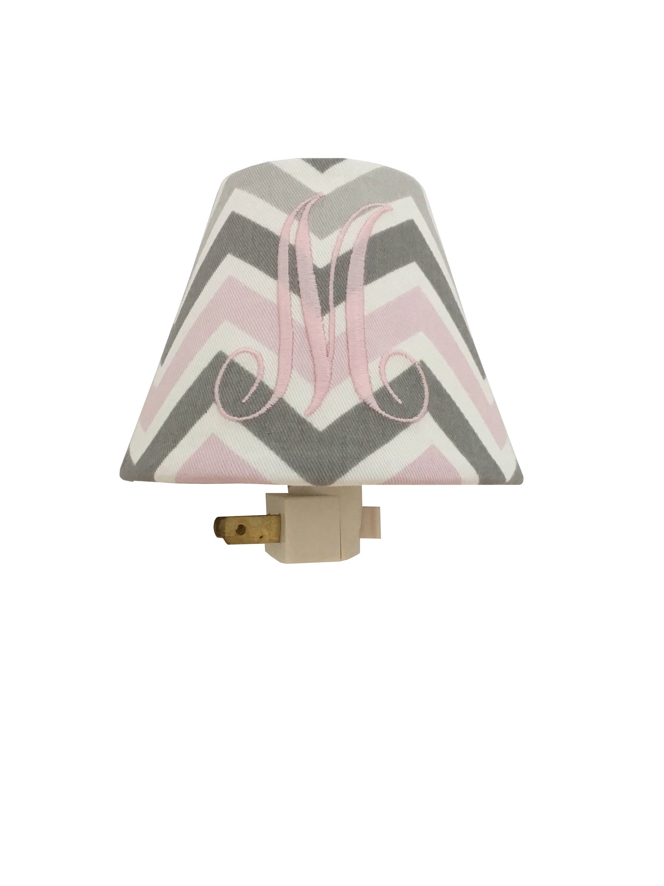 Pink Grey Chevron Monogrammed Lampshade Pink White Table