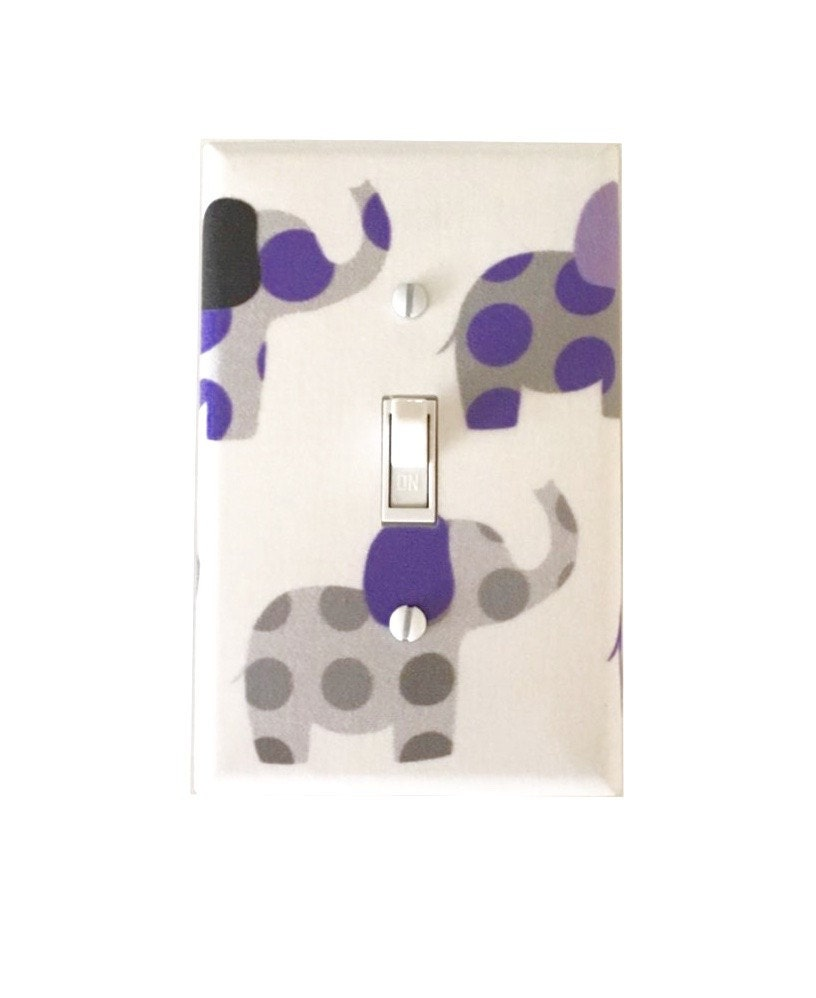 Purple And Gray Elephant Light Switch Plate Elephants Light Switch