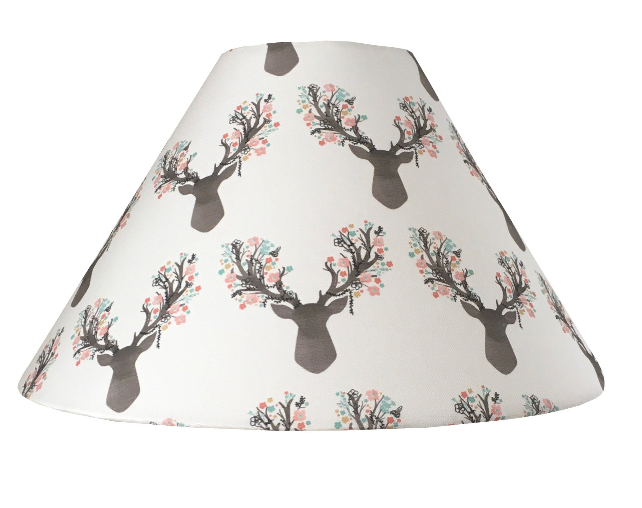 Floral Coral Deer Fawn Floral Little Stag In Tulip Lampshade Stag Lampshade Nursery Lamp Shade