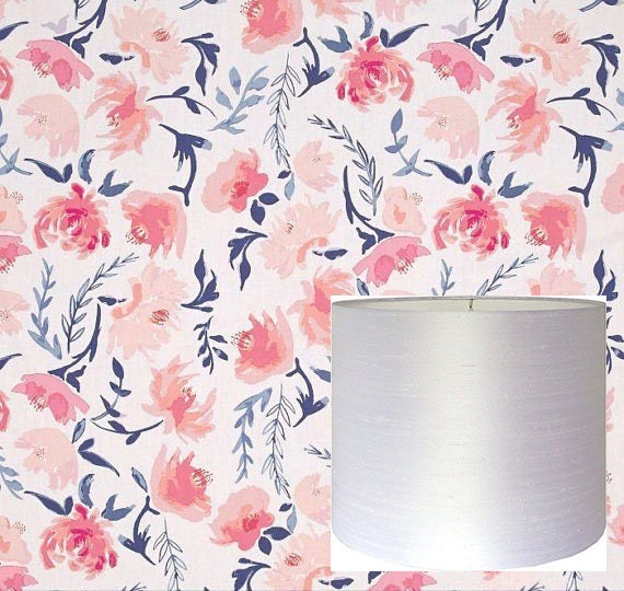 Flowers drum lampshade pink floral lamp shade kids room nursery flowers drum lampshade pink floral lamp shade kids room nursery lampshade girl bedroom custom made to order aquarelle study in wash mightylinksfo
