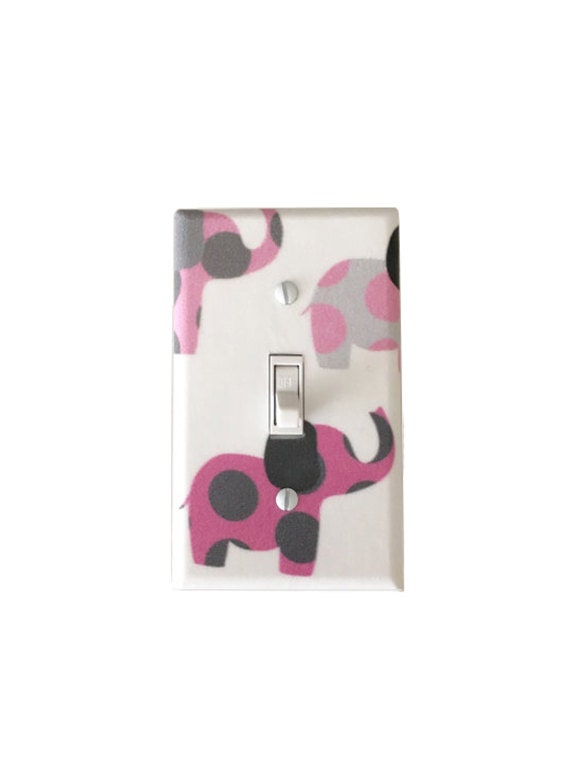 Pink And Gray Elephant Light Switch Plate Elephants Light Switch
