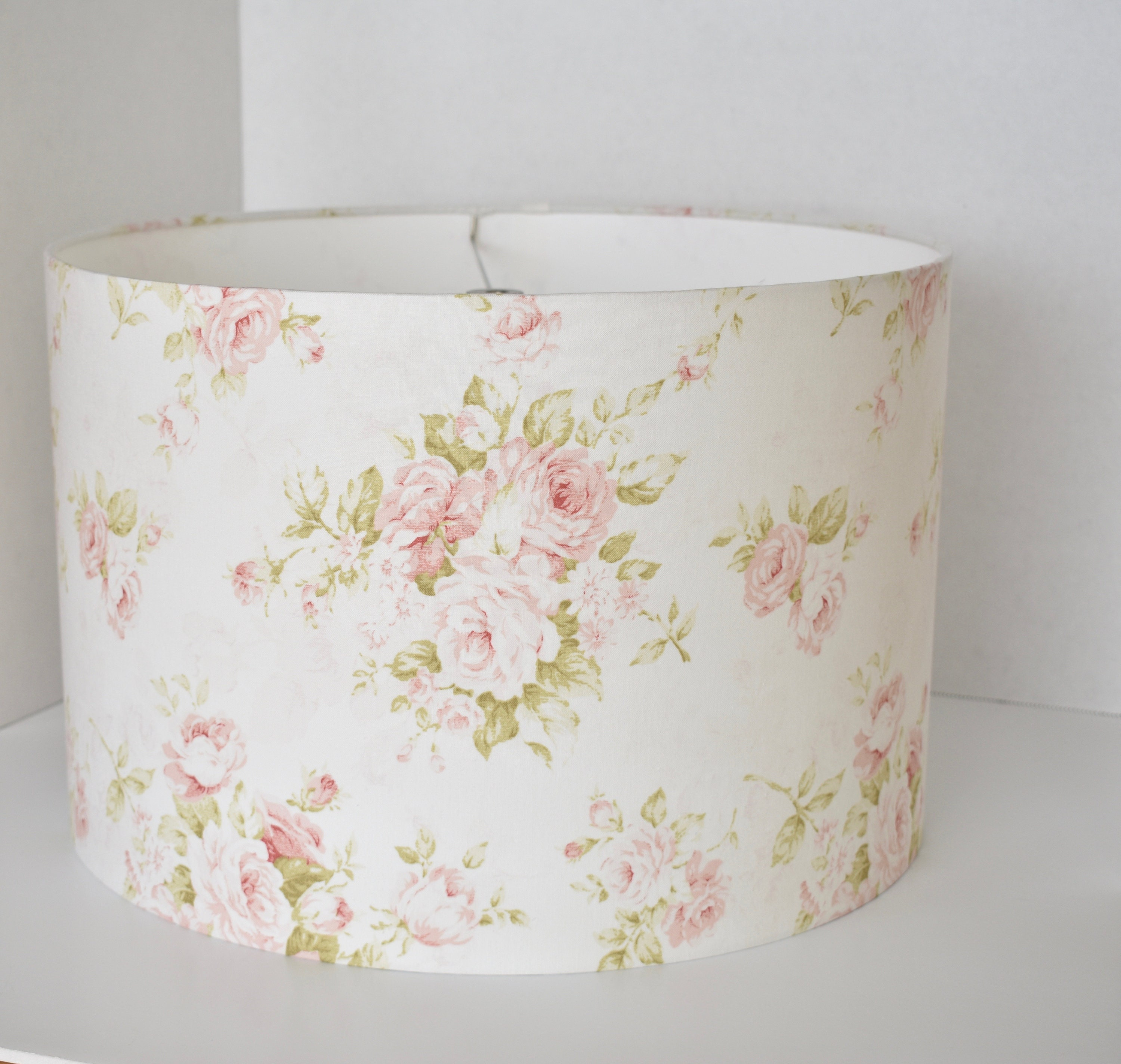 Shabby Cottage Chic Floral Drum Lampshade Pink Floral Lamp Etsy
