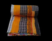 Double side Vintage Twin size kantha Quilt Indian bed cover Patch work Handmade Cotton Bedcover Bedspread Blanket throw Quilt Throw sheet
