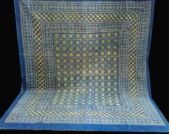 Indigo Handblock Queen/King Kantha Quilt Throw Handmade bedspread Indian Vintage Bohemian blanket Coverlet Bedspread Bedcover Blue Ajrak