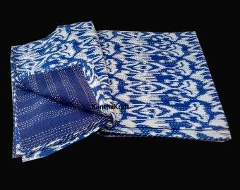 Indigo Queen/King Kantha Quilt Indigo Kantha Quilt Throw Handmade bedspread Indian Vintage Bohemian blanket Coverlet Bedspread Bedcover