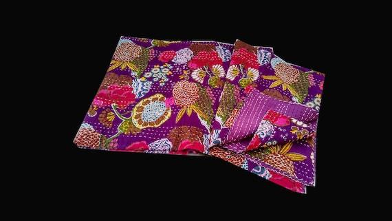 Handmade Kantha Quilt Indian Cotton Kantha Blanket Hand Stitched Kantha Bedspread Bohemian Kantha Bed Cover Kantha Picnic Throw