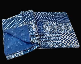 Indigo Blue  PatchPrint Queen/King Kantha Quilt Throw bedspread Indian Vintage Bohemian blanket Coverlet Bedspread Bedcover Blue Patchwork