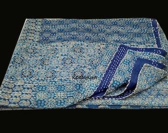 Indigo Handblock Queen/King Kantha Quilt Throw Handmade bedspread Indian Vintage Bohemian blanket Coverlet Bedspread Bedcover Blue Patchwork