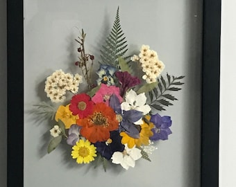 Pressed Wildflower Collage in a Float Frame