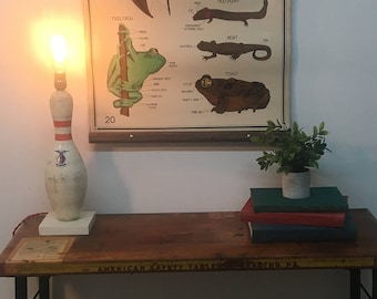 Vintage Bowling pin repurposed lamp