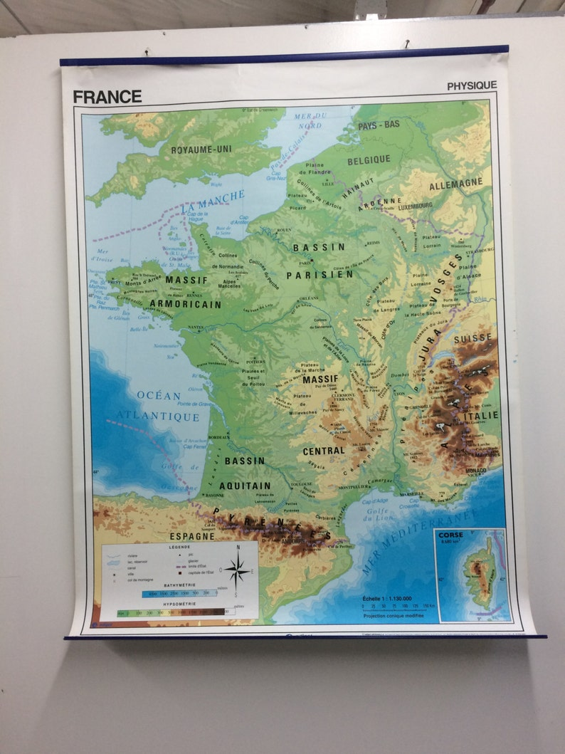 Map Of France In French Language.Doublesided Map Of France French Language Map Etsy