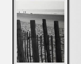 Beach Fence | Ocean, Water, Coastal Beach Decor, Beach Wall Art, Black & White Photography, Printable Art, Instant Digital Download, Poster