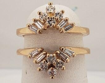 Vintage Natural Diamond Insert Wedding Band Engagement Ring Enhancer 14KT Yellow Gold