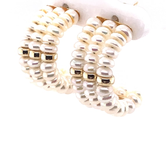 Vintage Triple Pearl and Yellow Gold Hoop Earrings