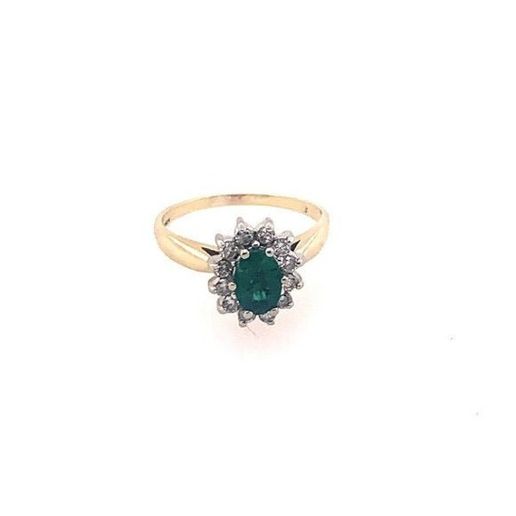 Genuine Oval Emerald and Diamond Halo 14KT Yellow