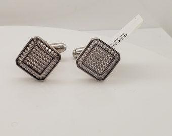 Men's Sterling Silver CZ Cufflinks Set   Men's Accessories   Men's Jewelry