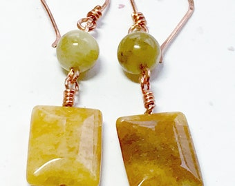 Gemstone and Copper Earrings