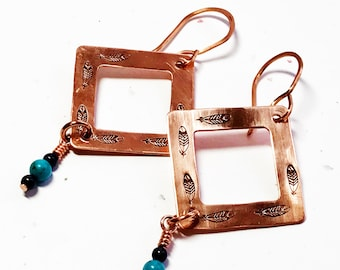 Hand stamped copper earrings