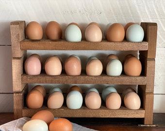 Farmhouse Stackable Wood Egg Holder l Egg Storage l Fresh Egg Storage l Wooden Egg Holder l Wooden Egg Rack l Wood Egg Carton l Egg Tray