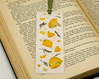 Bookmark, Handmade Paper, Pressed Flowers, Yellow Bookmark, Bookmark Accessory, Mother's Day Gift, Page Keeper, Laminated Bookmark