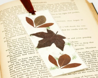 Bookmark, Handmade Paper, Pressed Leaves, Moss, Bookmark Accessory, Mother's Day Gift, Page Keeper, Laminated Bookmark