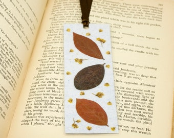 Bookmark, Handmade Blue Paper, Pressed Leaves, Yellow Flowers, Bookmark Accessory, Mother's Day Gift, Page Keeper, Laminated Bookmark