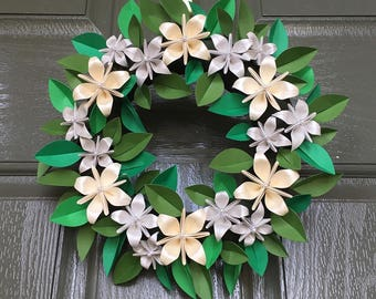 Origami Wreath with Paper Star Flowers, Silver and Gold Handmade Paper Flowers Holiday Wreath