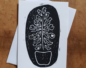 Fenestrated House Plant - Linocut - Notecard - 5x7