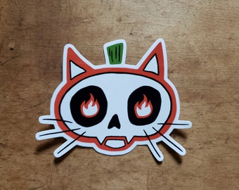 Spooky Pumpkin Cat with Flame Eyes Sticker