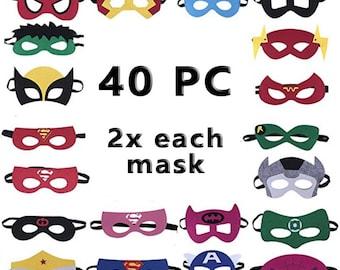 40-pc Super hero Mask Set for Kids, Birthday Party DIY Children