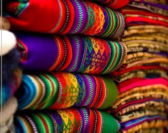 Colored Andean Fabrics, Peruvian Blankets, Ethnic Textile, aguayo, cusco fabrics, Andean fabric, bohemian fabrics, boho decoration