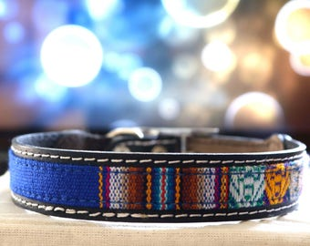 Leather Collar with ethnic loom lining, small pets, boho collar, dog collar,puppy,medium dog, big dog