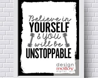 Printable Gym Art - Wall Decor for Gym - Health Printable - Fitness Printable - Exercise Printable - Gym Wall Art - Believe in Yourself